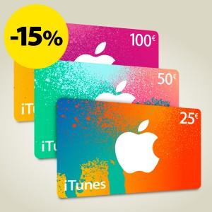 iTunes 25, 50 ja 100 euron lahjakortit nyt -15 %!