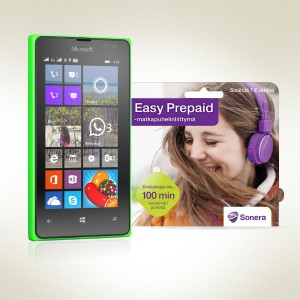 Lumia 435 + Sonera Easy Prepaid-liittymä 79,00 €