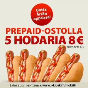 Prepaid-ostolla 5 hodaria 8 €
