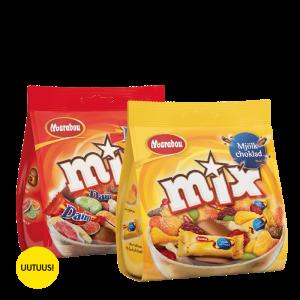 Uutuus! Hieman erilaiset sekoitukset Marabou Mix Daim ja Marabou Maitosuklaa 3,50 € pussi (200 g)