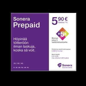 Sonera Prepaid -liittymä 3,90 € (norm. 5,90 €)