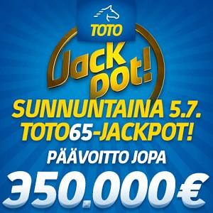 Sunnuntaina Toto65-pelissä jackpot  - päävoitto jopa 350 000 euroa!