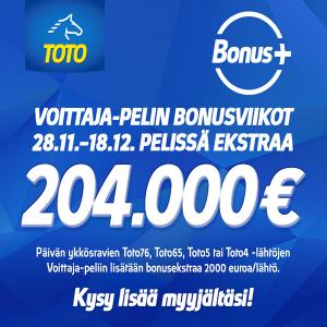 Voittaja-pelin bonusviikoilla jaossa 204.000 euroa ekstraa!