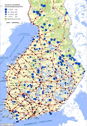 Kartassa on esitetty, missä Metsähallituksen vuonna 2014 suojeluun siirtämät 150 talousmetsäkohdetta sijaitsevat.