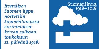 Suomenlinnan 100 -merkkivuoden piiretty tunnus sekä siihen liittyvä teksti: Itsenäisen Suomen lippu nostettiin Suomenlinnassa ensimmäisen kerran salkoon toukokuun 12. päivänä 1918.