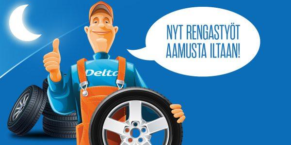 Delta Auto Salossa ja Turussa voit vaihtaa renkaat aamusta iltaan