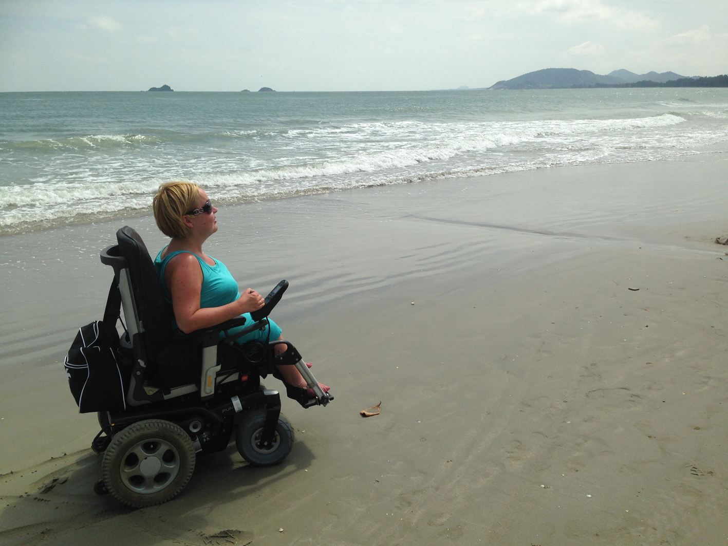 My powered wheelchair and I — ready for a round-the-world trip