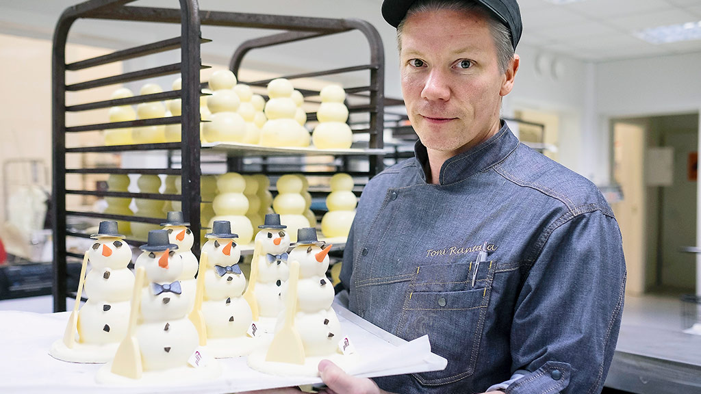 Toni Rantala from pH7 prepares melt-in-the-mouth chocolate snowmen.