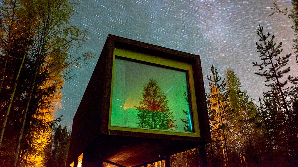 Fabulous Arctic TreeHouse suites face north – ideal for aurora watching.
