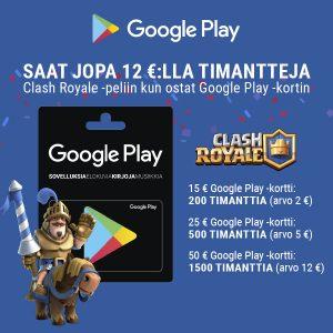 Osta Google Play -kortti, saat jopa 12 €:lla timantteja Clash Royale -peliin!
