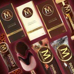 Magnum-jäätelöt ja -suklaalevyt 2 kpl 4 €
