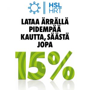 HSL: lataa pidempää kautta - säästät jopa 15 %