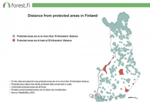 Distance from protected areas in Finland