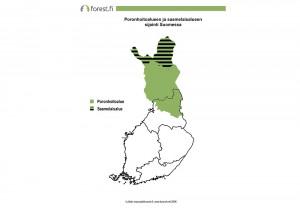 Poronhoitoalueen ja saamelaisalueen sijainti Suomessa
